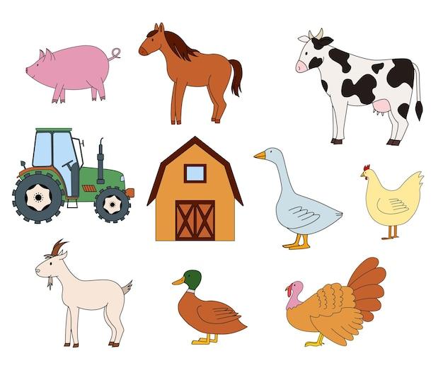 Ilustracja wektorowa zwierząt gospodarskich i ciągnika na białym tle
