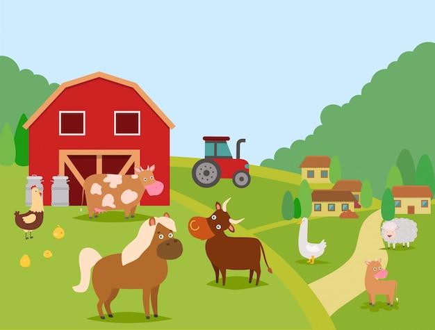 Ilustracja wektorowa zwierząt gospodarskich. zwierzęta domowe krowa, byk i cielę, owca, koń. kurczak drobiowy z kurcząt i kaczki. stodoła, puszki, domy, ciągnik. dom rolnika i jego zwierzęta