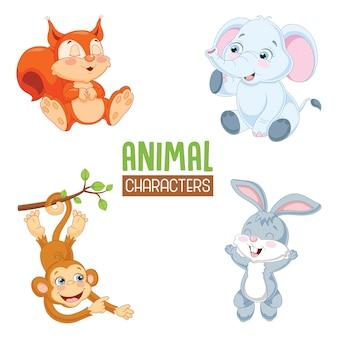 Ilustracja wektorowa zwierząt kreskówek