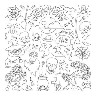 Ilustracja wektorowarysunki elementów halloween party zestaw ikon w stylu kreskówki