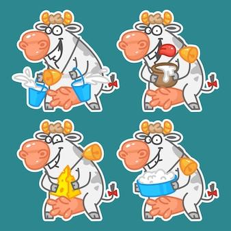 Ilustracja wesoła krowa pokazuje produkty mleczne mleko kwaśny serek twarożek