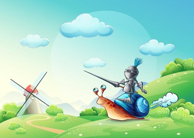 Ilustracja wesoły rycerz atakujący młyn na ślimaku