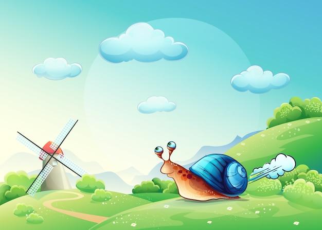 Ilustracja wesoły ślimak na łące