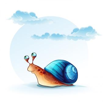 Ilustracja wesoły ślimak na tle nieba z chmurami