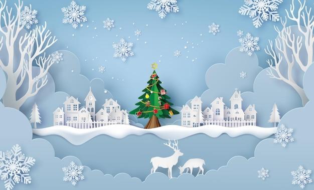 Ilustracja wesołych świąt i szczęśliwego nowego roku, wiejska wieś w sezonie zimowym. papierowy kolaż i styl cięcia papieru z cyfrowym rzemiosłem