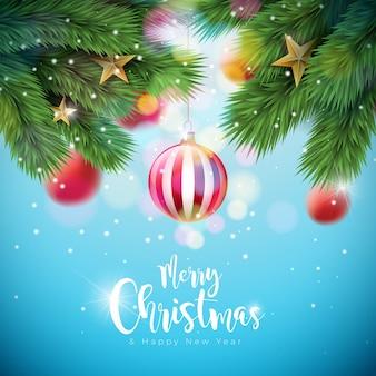 Ilustracja wesołych świąt z ozdobnych kulek