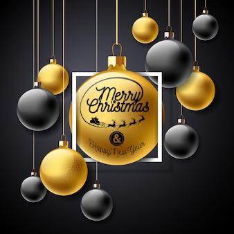Ilustracja wesołych świąt ze złotą szklaną kulkę i elementy typografii na czarnym tle
