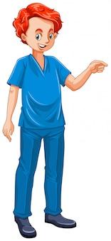 Ilustracja weterynarza ubranego w niebieskim mundurze