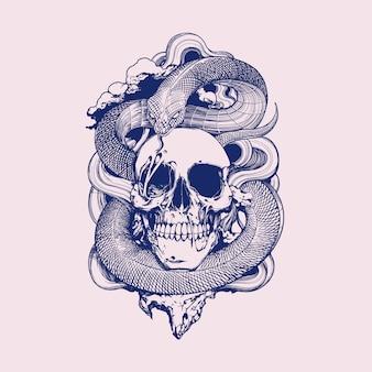 Ilustracja węża czaszki