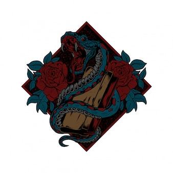 Ilustracja węża, ilustracja sitodruku, wektor węża, wektor sitodruku