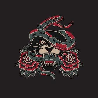 Ilustracja węża owiniętego wokół głowy czarnej pantery w tradycyjnym stylu starej szkoły