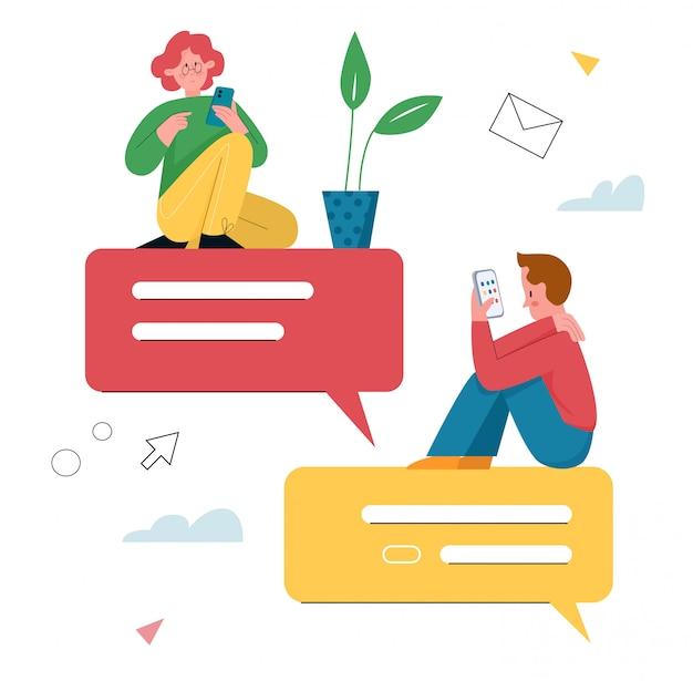 Ilustracja wiadomości czatu. postacie z kreskówek płaskie małe dziewczynki i chłopca rozmawiają w telefonie komórkowym, używając aplikacji mobilnego komunikatora tekstowego na ekranie smartfona, wirtualne okno dialogowe online na białym tle