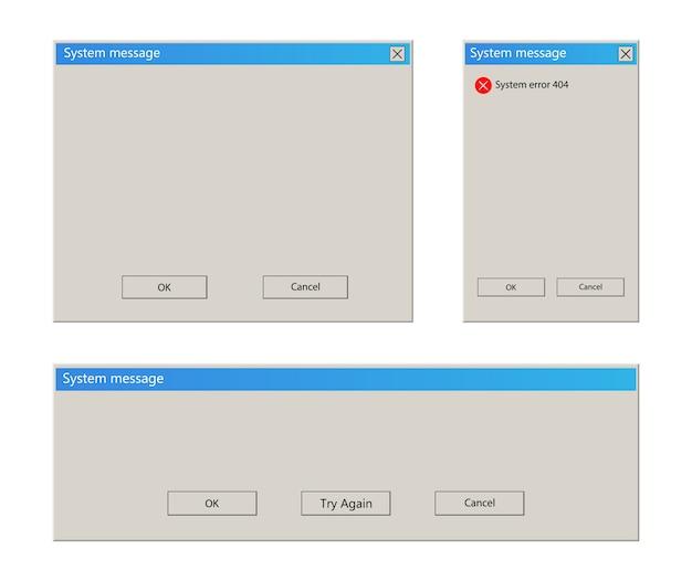 Ilustracja wiadomości systemu windows na białym tle