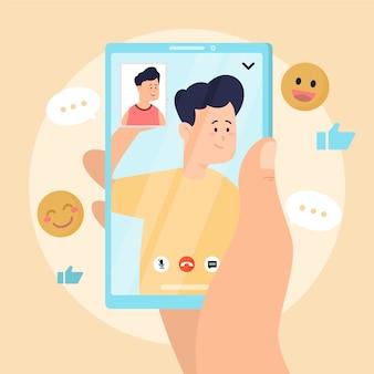 Ilustracja wideo znajomych dzwoniąc na smartfonie