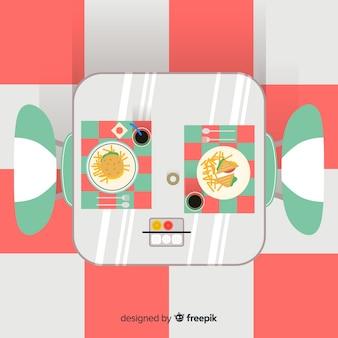 Ilustracja widok z góry obiad