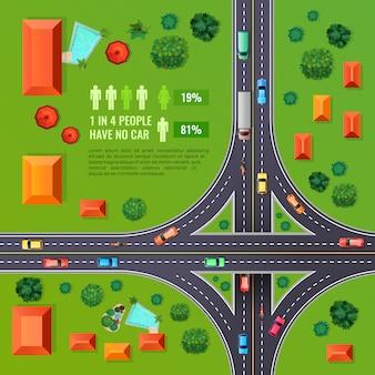 Ilustracja widok z góry skrzyżowanie