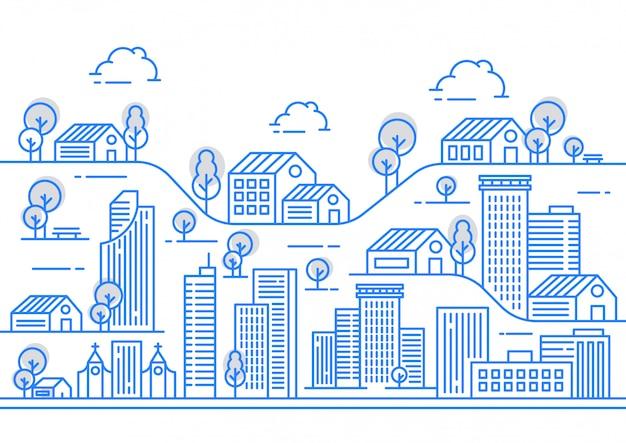 Ilustracja widoku linii miasta z różnymi kształtami budynku