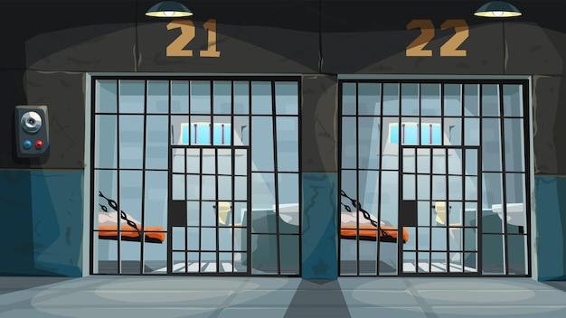 Ilustracja widoku pustych cel więziennych przez czarne metalowe kraty