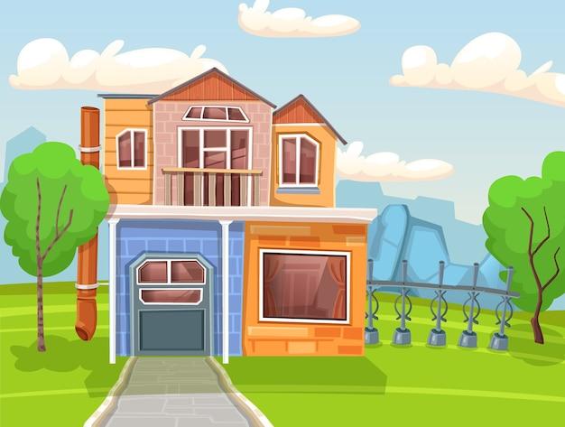Ilustracja Wiejski Dom Premium Wektorów