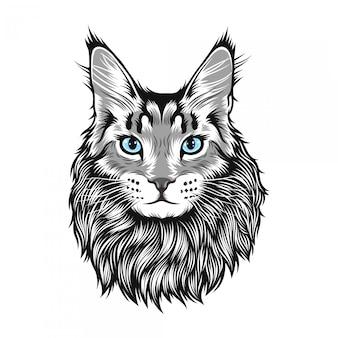 Ilustracja wielkiego kota maine coon