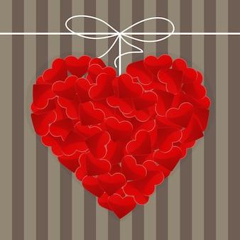 Ilustracja wielkiego serca z wielu małych czerwonych serc