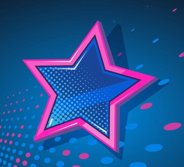 Ilustracja wielkiej gwiazdy ze świecącymi plamami na ciemnoniebieskim tle.