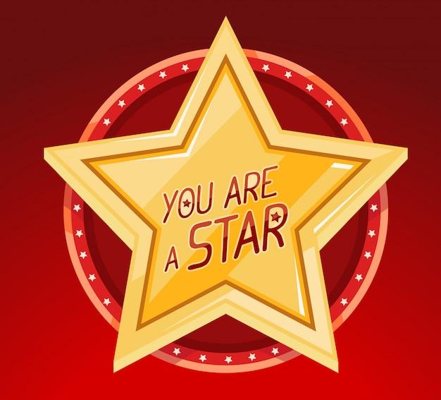 Ilustracja wielkiej złotej gwiazdy w okręgu na czerwonym tle.