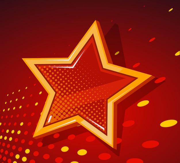 Ilustracja wielkiej złotej gwiazdy ze świecącymi plamami na ciemnym czerwonym tle.