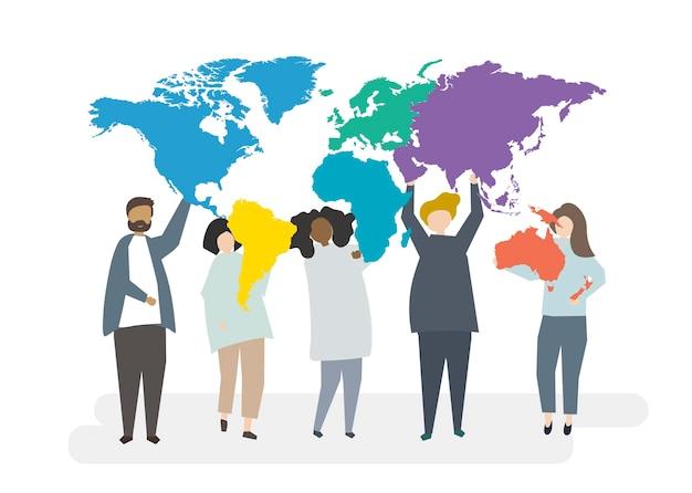 Ilustracja wielorasowe postacie z globalną koncepcją