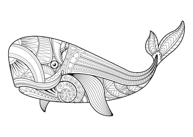 Ilustracja wieloryba w stylu zentangle