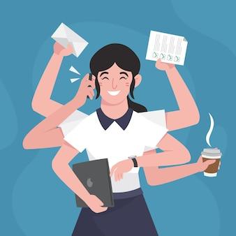 Ilustracja wielozadaniowa kobieta z płaskiej ręki
