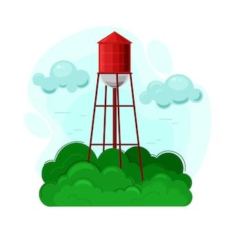 Ilustracja wieża ciśnień. gospodarstwo wiejskie, przedmiot życia na wsi i krajobrazu wiejskiego.