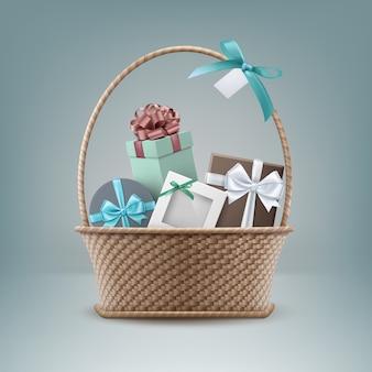 Ilustracja wiklinowy kosz pełen pudełka na prezenty na białym tle