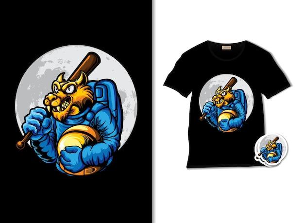 Ilustracja wilka kosmicznego z projektem koszulki