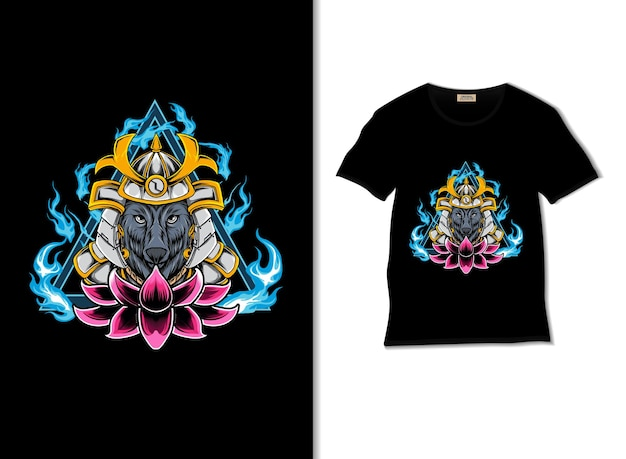 Ilustracja wilka samuraja z projektem koszulki