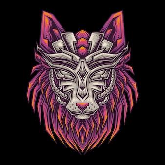 Ilustracja wilka w futurystycznym stylu mecha