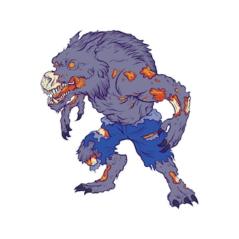 Ilustracja wilkołaka zombie