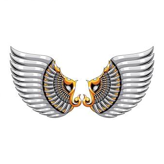 Ilustracja wing mandala zentangle i projekt koszulki premium wektorów