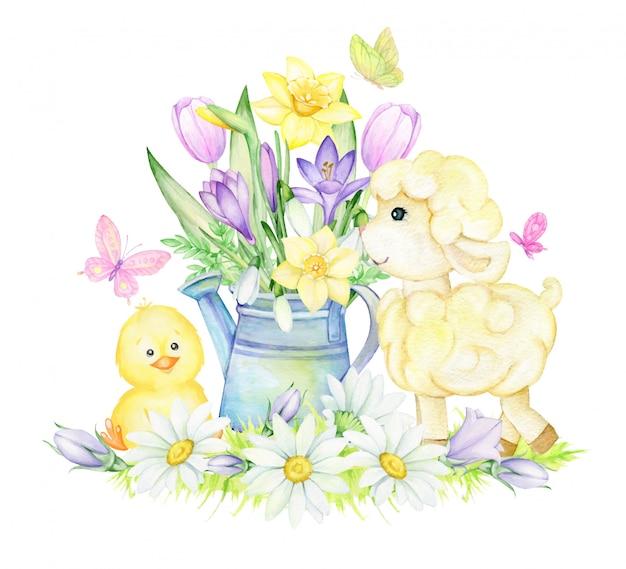 Ilustracja wiosna akwarela, owiec i piskląt z kwiatami