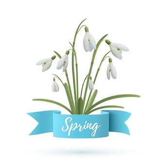 Ilustracja wiosna. kwiaty przebiśnieg z niebieską wstążką na białym tle