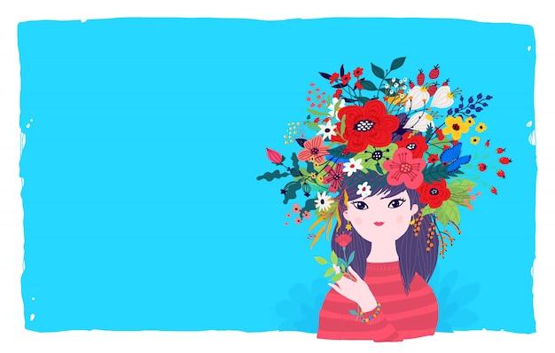Ilustracja wiosny dziewczyna w wianku kwiaty na błękitnym tle. wektor.
