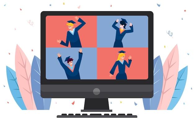 Ilustracja wirtualnej ceremonii ukończenia szkoły