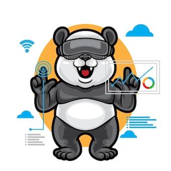 Ilustracja wirtualnej rzeczywistości panda