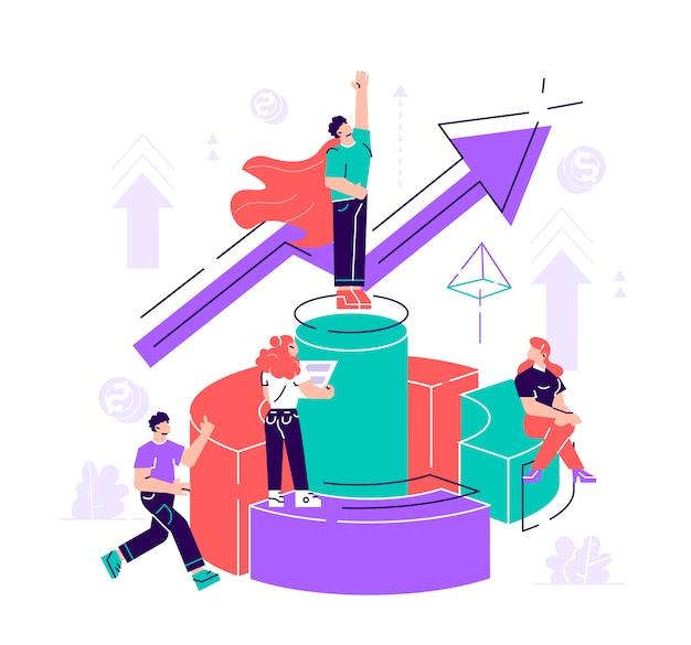 Ilustracja, wirtualny asystent biznesu. praca zespołowa nad wydajnością, burza mózgów, zarządzanie inwestycjami w karty.