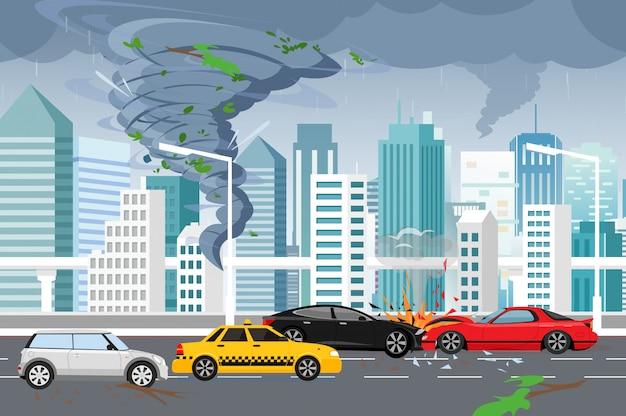 Ilustracja wirującego tornada i powodzi, burza z piorunami w wielkim nowoczesnym mieście z drapaczami chmur. huragan w mieście, wypadek samochodowy, koncepcja zagrożenia w stylu płaski.