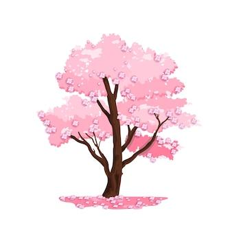 Ilustracja wiśniowe drzewo wiosna