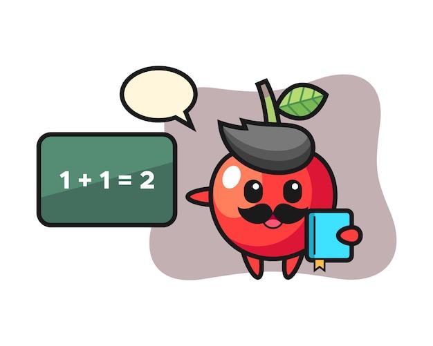 Ilustracja wiśniowego charakteru jako nauczyciela, ładny styl