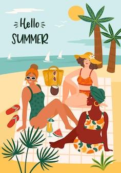 Ilustracja witaj lato z kobietą w stroju kąpielowym na tropikalnej plaży.