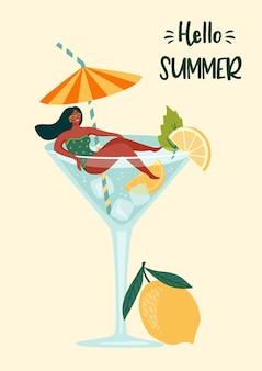 Ilustracja witaj lato z kobietą w stroju kąpielowym w kieliszku koktajlowym