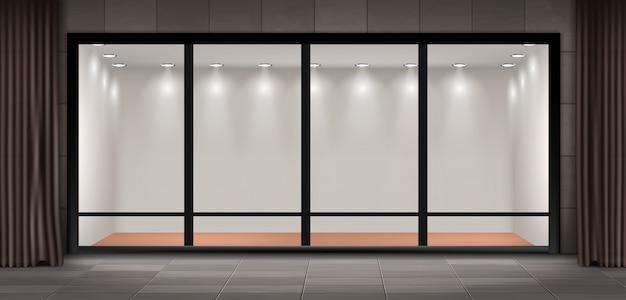 Ilustracja witryny sklepowej, szklana iluminowana prezentacja prezentacyjna i wystawa muzealna